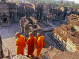 Monks Overlook Angkor Wat  Cambodia