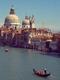 Gondola on the Grand Canal nearing the Santa Maria della Salute  Venice  Italy
