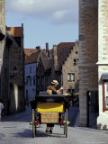 Horse-Drawn Carriages with Tourists  Bruges  Belgium