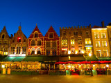 Cafes in Marketplace in Downtown Bruges  Belgium