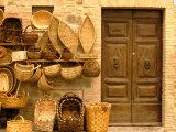Montalcino  Basket Seller and Wall  Tuscany  Italy