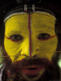 Painted Face of Native in the Huli Wigmen Tribe  Tari  Papua New Guinea