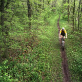 Mountain Biker on the Erie Canal Trail  Defiance  Ohio  USA
