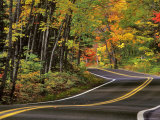Canopy of Autumn Color over Highway 41  Copper Harbor  Michigan  USA