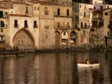People Rowing Boat in Town Harbour  Cefalu  Italy