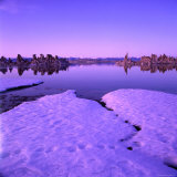Winter Sunset Over Lake with Snow in Foreground  Mono Lake  USA