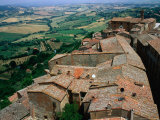 Rooftops of Town Overlooking Tuscan Countryside  Montepulciano  Italy