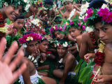 Crowd of People Wearing Flowers at Independence Day Celebrations  Fiji