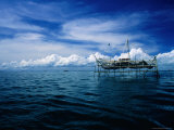 Fishing Platform from Where Nets Are Lowered into South China Sea  Sandakan  Sabah  Malaysia