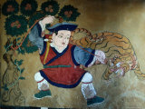 Detail of Wall Painting in Tamzhing Goemba  Choskhor or Bumthang Valley  Jakar  Bumthang  Bhutan