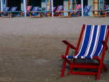 Empty Deckchairs on Beach  the Lido  Veneto  Italy