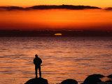 Rock Fishing at Sunset in Torekov  Torekov  Skane  Sweden
