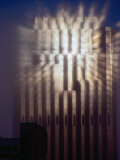 Reflection of Sun of Bank of America Building Through Fog  San Francisco  California  USA
