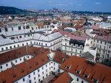 Rooftops of Nove Mesto Towards Prague Castle  Prague  Czech Republic