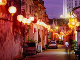 Narrow Street in Chinatown Decorated with Lanterns  Melaka  Malaysia
