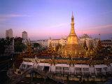 The 46 Metre High Sule Paya  a Yangon Landmark Circled by Busy Streets  Yangon  Myanmar (Burma)