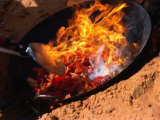 Cooking in Wok Over Camp Fire Simpson Desert  Australia