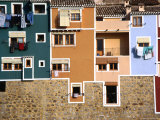 Washing Hanging from House Windows in La Vila Joiosa  Benidorm  Spain