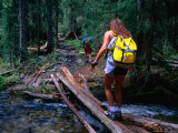 Hikers Crossing a Stream Near Rio Trampas  Pecos Wilderness  New Mexico  USA