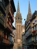 Towers of Cathedral St Corentin in Rue Kereon  Quimper  France