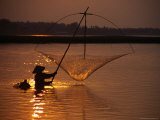 Dip Net Shrimp Fishing in Mekong River  Vientiane  Laos