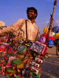 Toy Vendor and Merchandise on Chowpetty Beach  Mumbai  Maharashtra  India