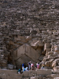 Tourists Entering Shaft of Pyramid of Cheops at Giza Cairo  Egypt