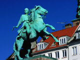 Statue of Bishop Absalon on Horseback on Hojbro Plads Square  Denmark