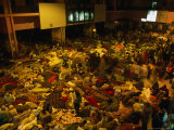 Railway Station Hall at Night Packed with Sleeping Pilgrims  Varanasi  Uttar Pradesh  India