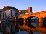Pontevecchio Bridge Reflected in the River Temo with Castella Malaspina  Bosa  Sardinia  Italy