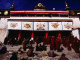 Monks and Pilgrims Outside Sera Monastery  Lhasa  Tibet