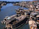 Houseboats and Houses on Banks of Saigon River  Ho Chi Minh City  Vietnam