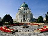 Dr Karl-Lueger-Kirche Overlooking Tomb of Dr Karl Renner at Zentralfriedhof  Vienna  Austria