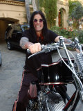 Ozzy Osbourne on His Motorbike at His Home in Los Angeles  USA  December 2003