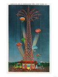 Coney Island  New York - Steeplechase Park Parachute Jump View at Night