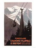 Chamonix Mont-Blanc  France - Funiculaire Le Brevent Cable Car Poster