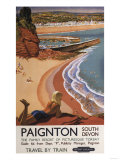 Paignton  England - British Railways Girl Looking over a Cliff Poster