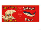 Polo Norte Brand Salmon Label - San Francisco  CA