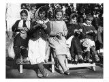 Girls Knitting in Albania Photograph - Albania