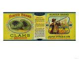 Hunter Clams Label - Milbridge  ME