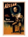 Kellar performing Self Decapitation Magic Poster
