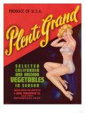 Plenti Grand Vegetable Label - Watsonville  CA