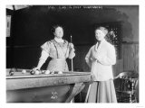 Two women Playing Billiards at Pool Hall Photograph