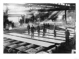 Men Laying out Plates in Steel Mill Photograph
