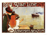 Antwerp  Belgium - Red Star Line Cruises to New York Promo Poster - Antwerp  Belgium