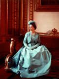 Portrait of Elizabeth II in Turquoise Dress  Born 21 April 1926