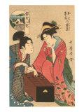 Japanese Woodblock  Geishas Playing Go