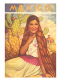 Mexico: Young Girl and Cactus   Poster Style