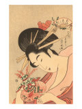 Japanese Woodblock  Lady with Curly Straws