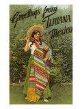 Greetings from Tijuana  Senorita in Sarape